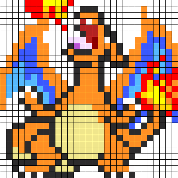 Charizard perler bead pattern. Pokeball clipart pixelated