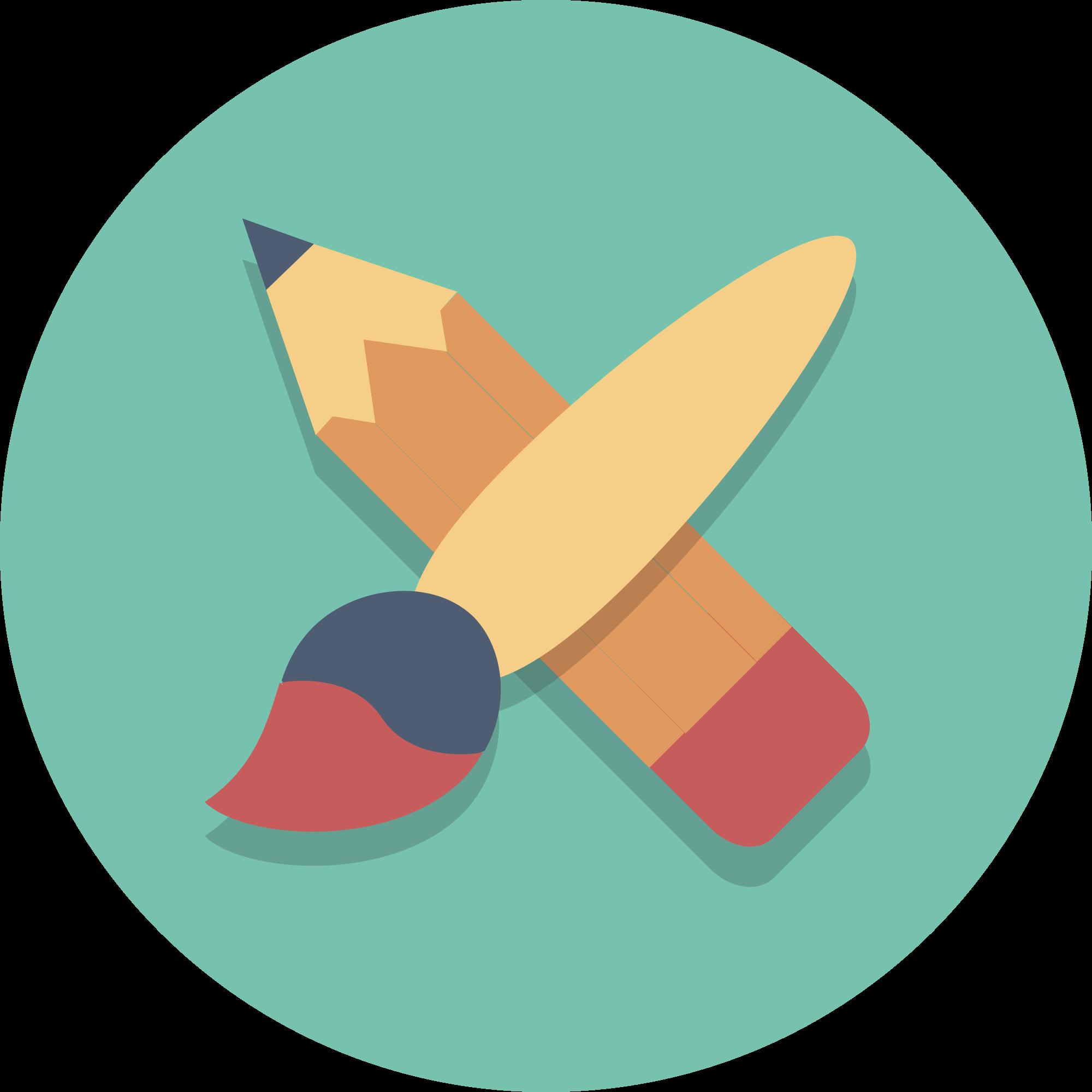 Pencil clipart paintbrush. File circle icons brush