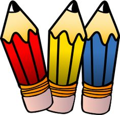 Three images mat riel. Pencils clipart