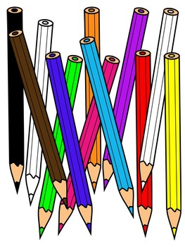 Pencils clipart. Colored color and black