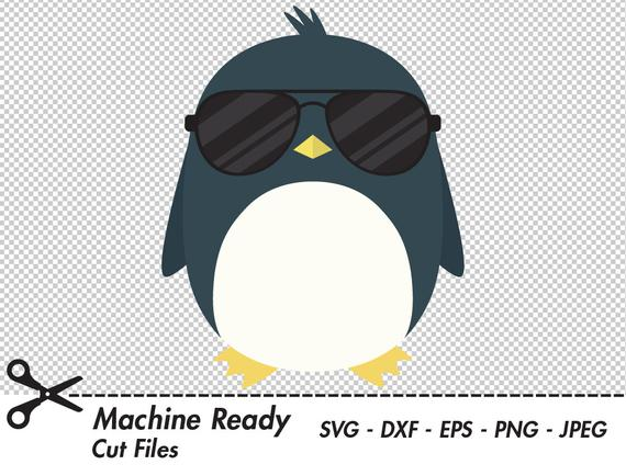 Cool svg cut files. Penguin clipart sunglasses