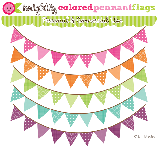 Brightly colored flags graphic. Pennant clipart festival banner