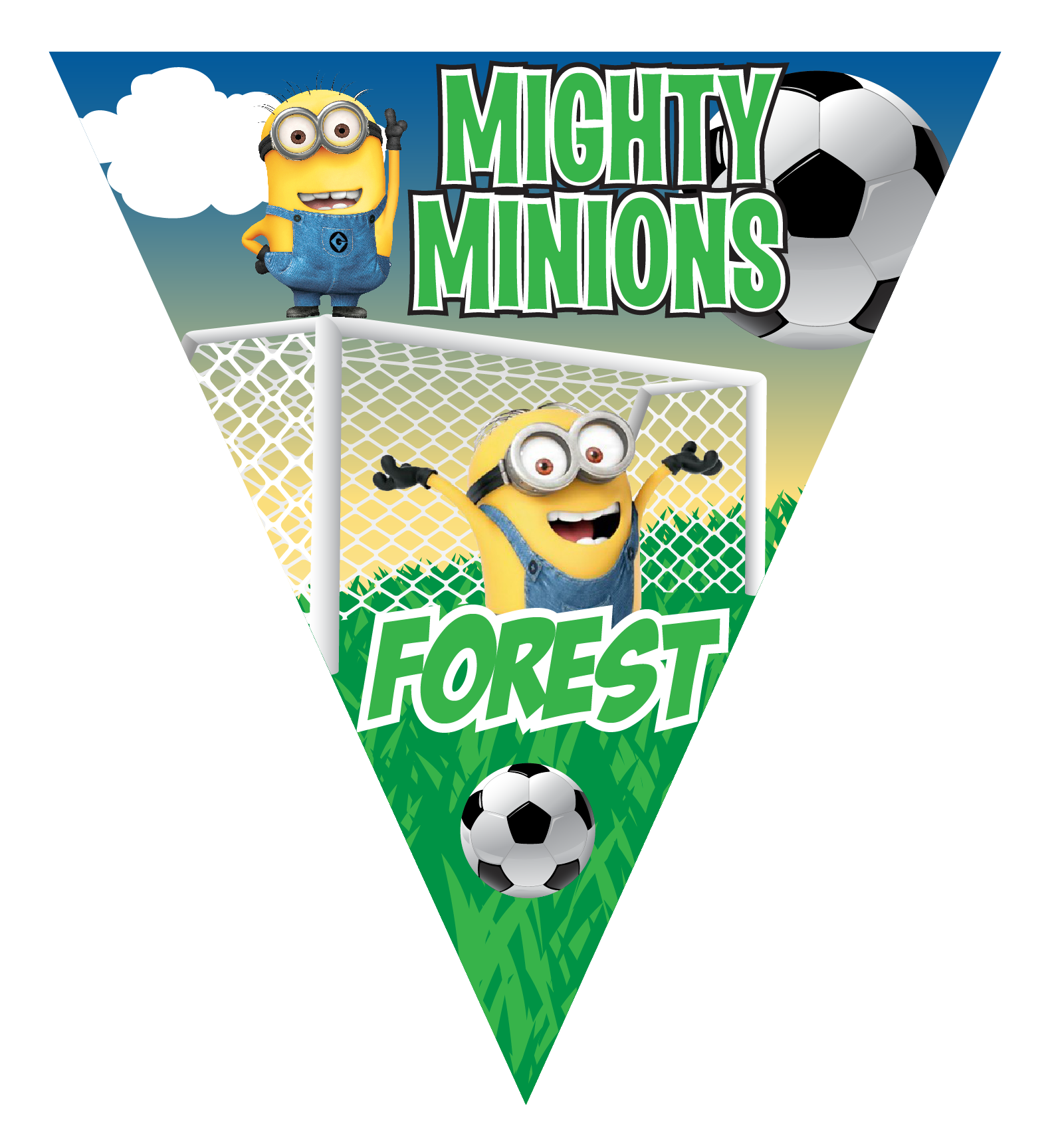 Triangular clipart pennant. Mighty minions triangle individual
