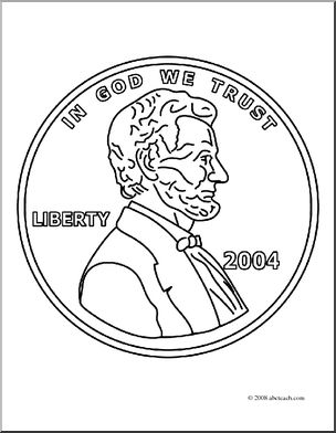 Pennies clipart coloring page. Clip art penny front
