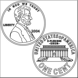 Clip art penny b. Pennies clipart outline