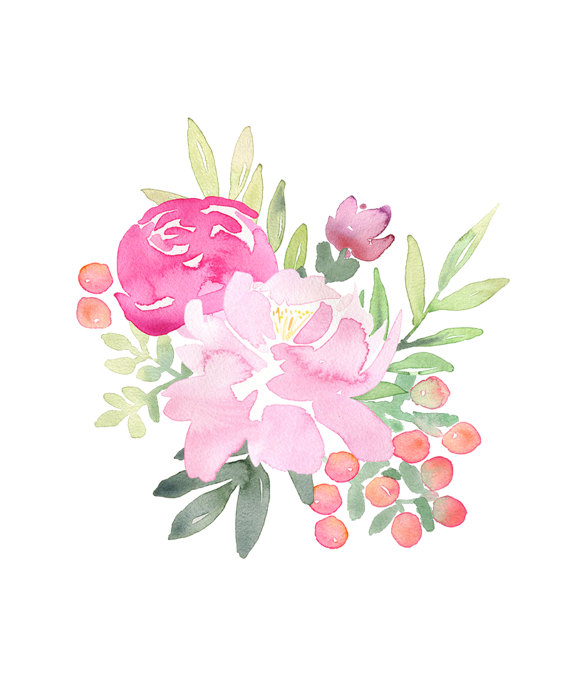 Peonies clipart. Pink hand painted floral