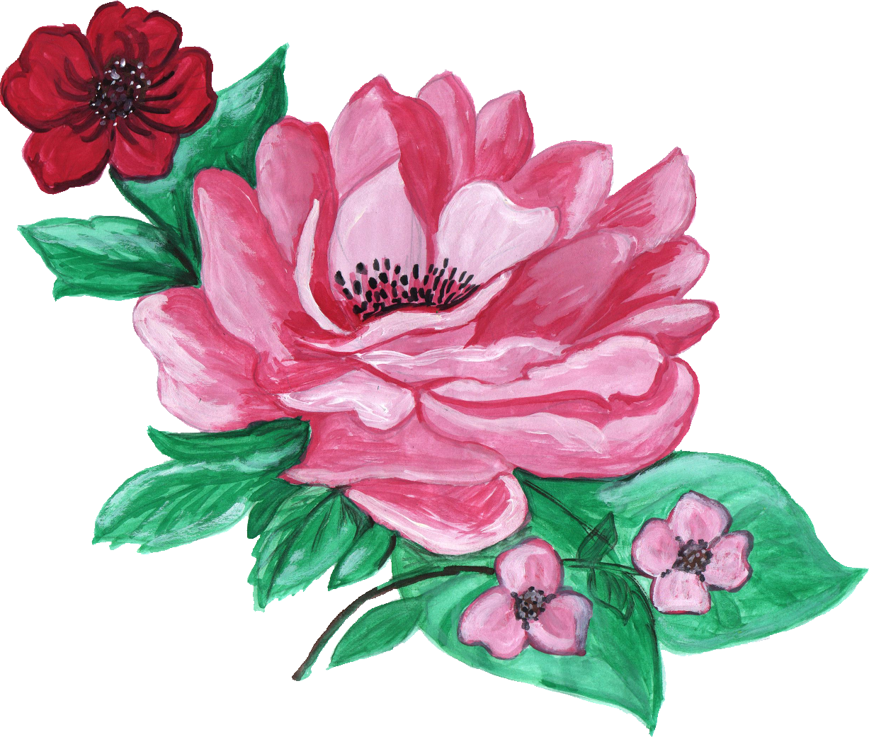 paint flower ornament. Peony clipart realistic