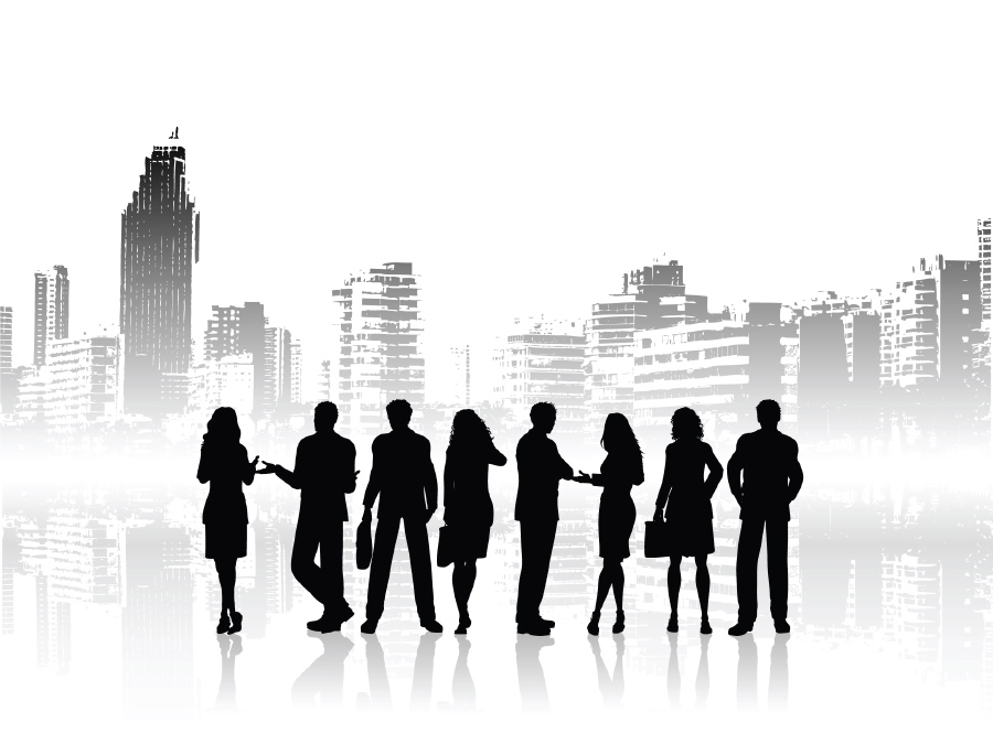 Free pictures of groups. Skyline clipart urban person