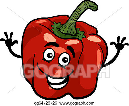 Vector illustration red pepper. Peppers clipart cute