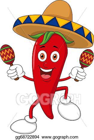 Pepper clipart happy. Vector art chili dancing