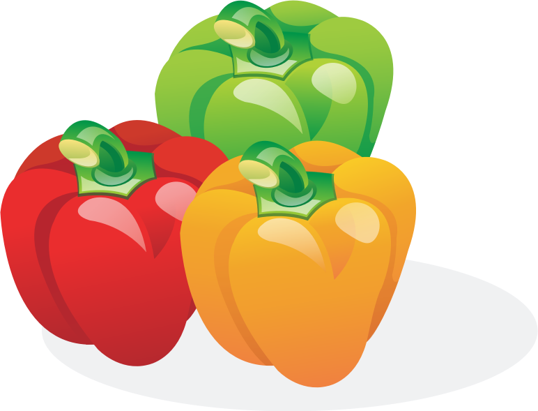 Vegetables clipart bell pepper. Multicolored peppers medium image
