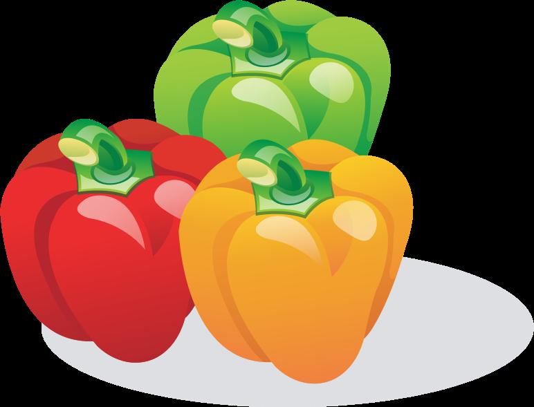 Multicolored bell medium image. Peppers clipart capsicum