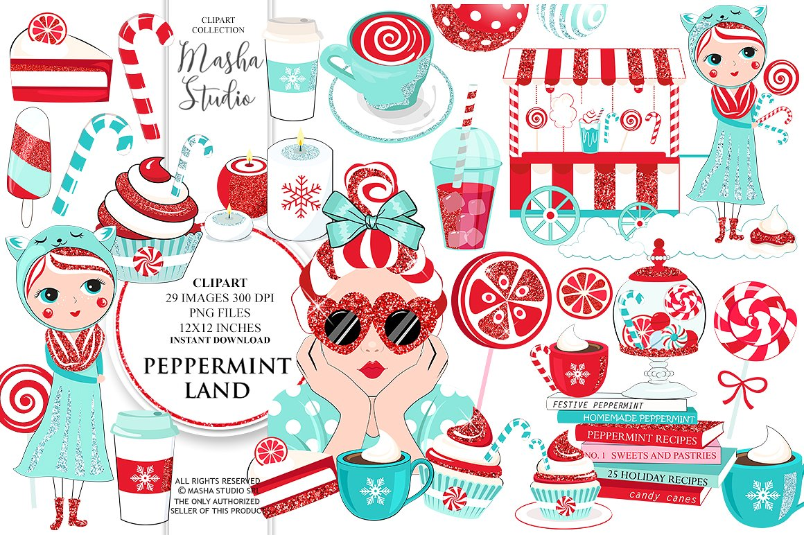 Land illustrations creative market. Peppermint clipart
