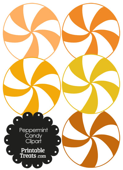 Peppermint clipart. Orange and white candy