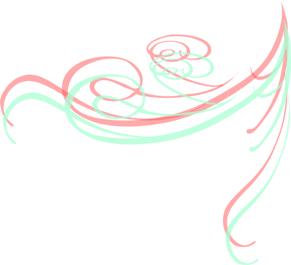 Mint green and coral. Swirl clipart single