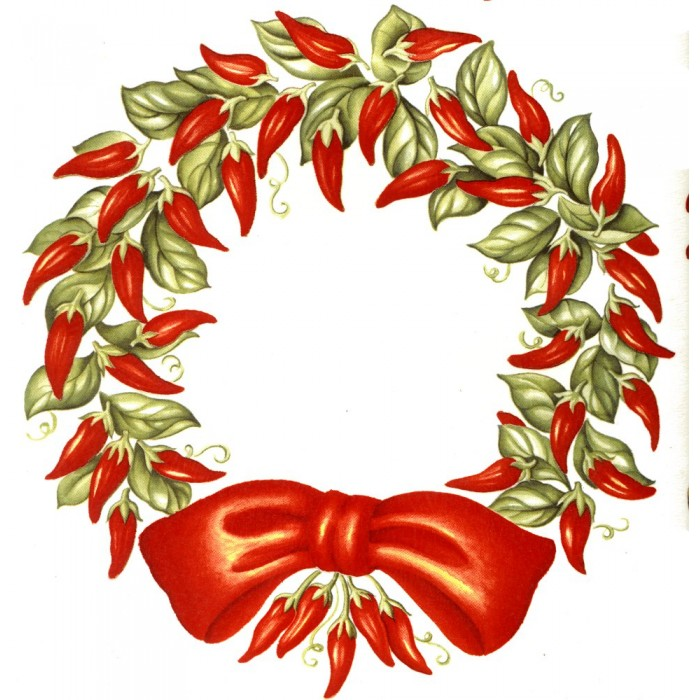 Peppers clipart christmas. Virma red chili wreath