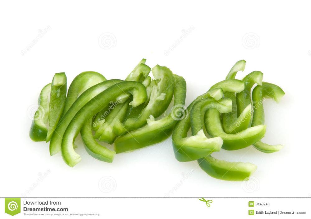 Green bell slices stock. Peppers clipart pepper slice