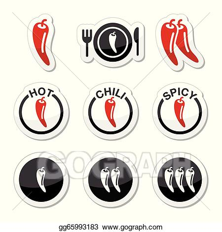 Peppers clipart spicy food. Vector chili hot and