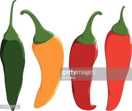 Fresh colorful hot chili. Peppers clipart sweet pepper