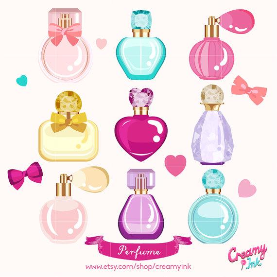 Perfume clipart. Digital vector clip art