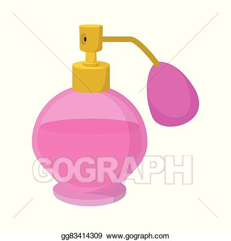 Perfume clipart cartoon. Vector pink bottle of