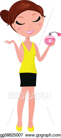 Perfume clipart cute. Vector young woman with
