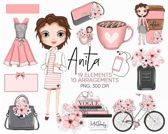 Planner girl bottle illustration. Perfume clipart fashion item