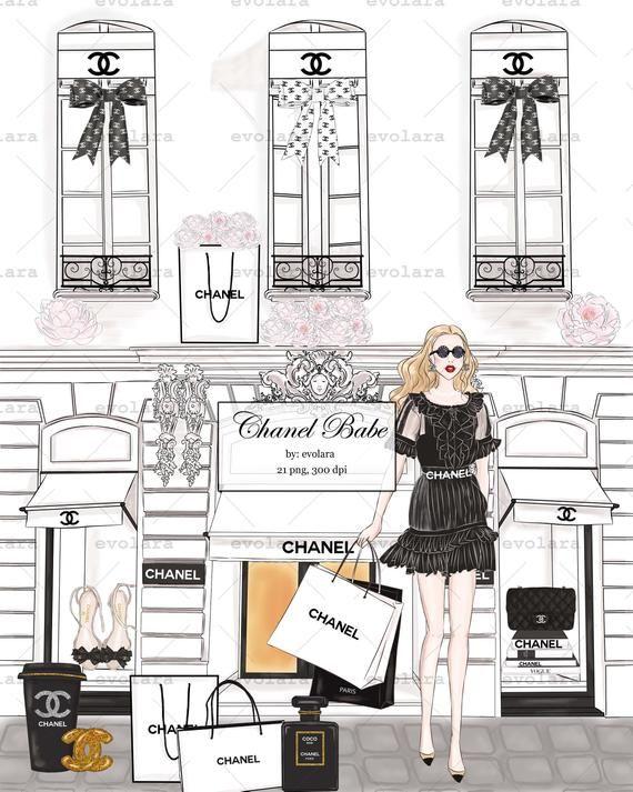 Perfume clipart fashion item. Chanel girl