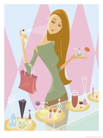 Woman sampling in art. Perfume clipart perfume store