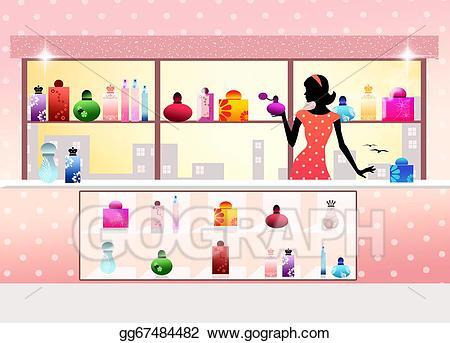 Stock illustration shop art. Perfume clipart perfume store