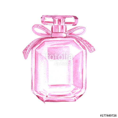 Perfume clipart pink perfume. Bottle watercolor illustration fashion