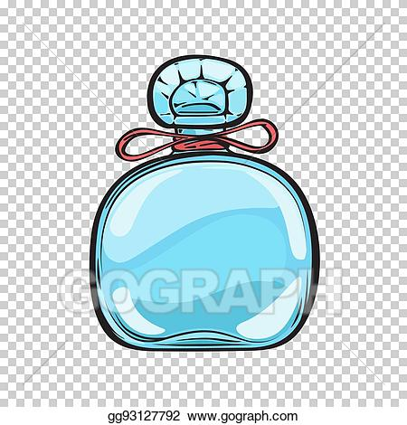 Vector blue glass bottle. Perfume clipart pleasant smell