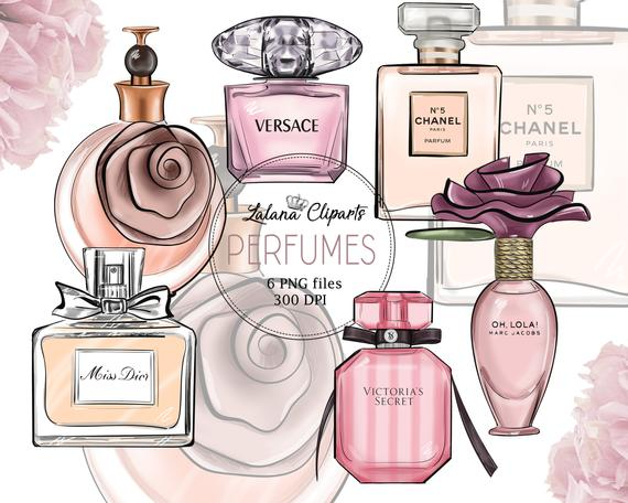 Fashion illustration beauty planner. Perfume clipart purfume
