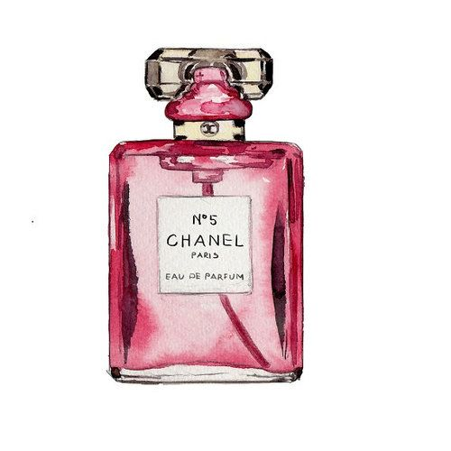 Chanel bottle printables and. Perfume clipart watercolor