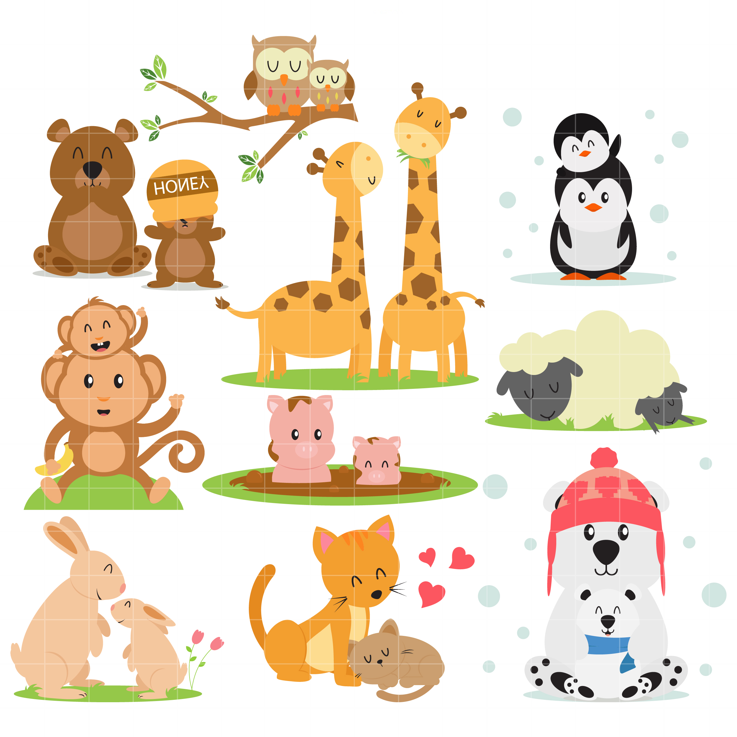 Pet clipart 10 animal. Families arts set semi