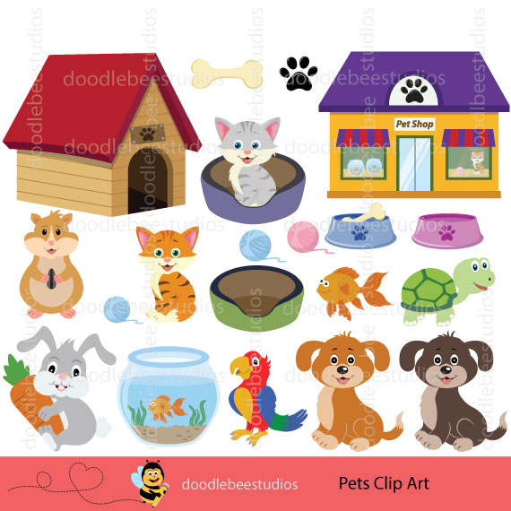 Pet clipart. Pets doodle bee studios