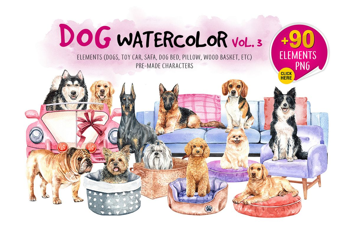 Dog watercolor clip art. Pet clipart 3 animal