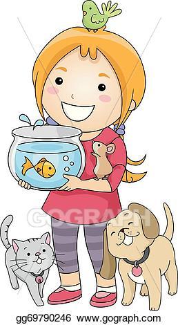 Pet clipart animal lover. Eps illustration girl vector