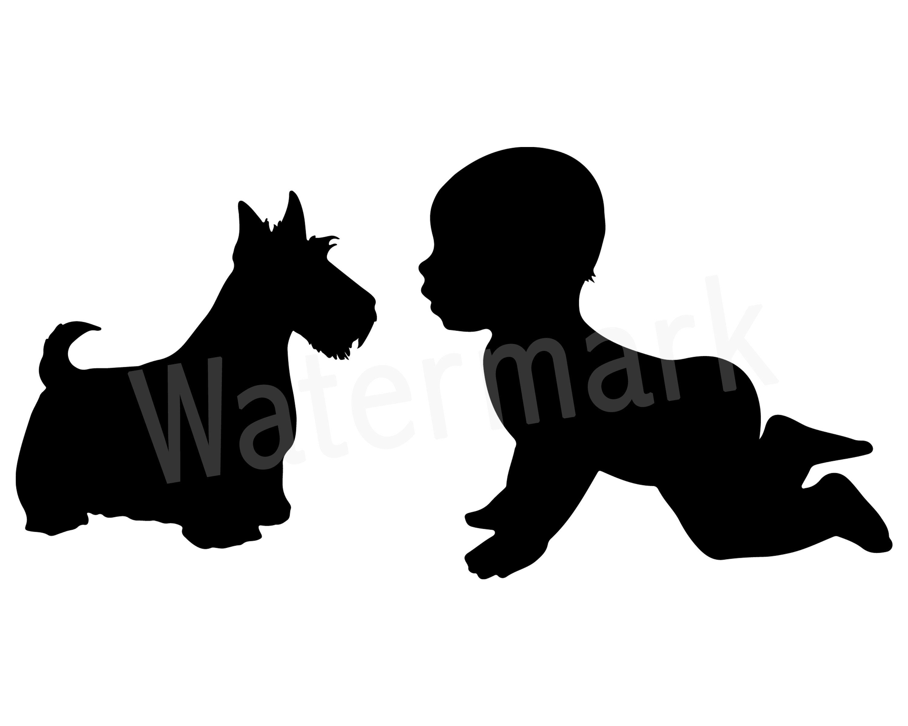 With svg silhouette family. Pet clipart baby dog