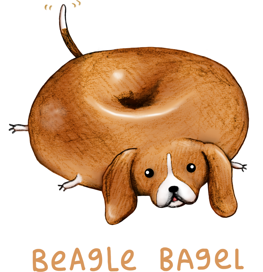 Pet clipart beagle. Bagel tee fury llc