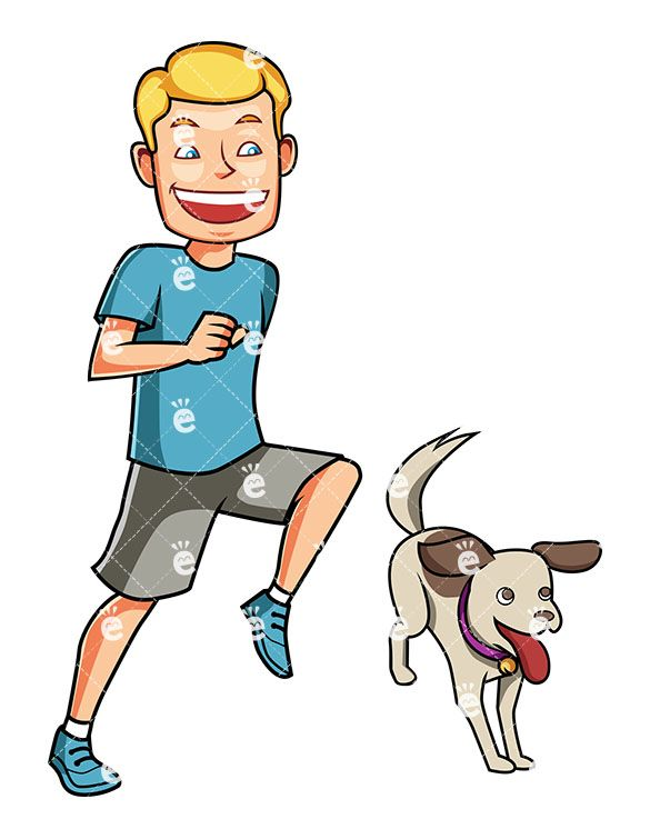 An energetic man running. Pet clipart dog exercise