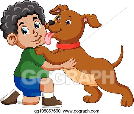 Vector licking his owner. Pet clipart dog lick