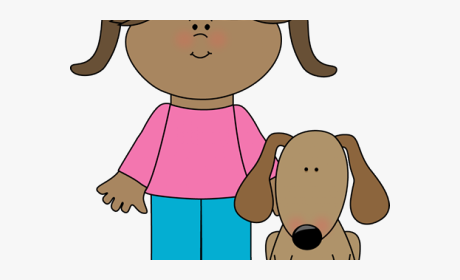 Pets owner girl with. Pet clipart found dog
