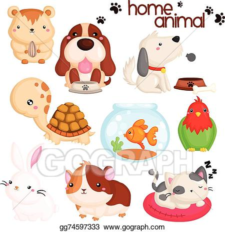 Pet clipart household pet. Vector art home drawing