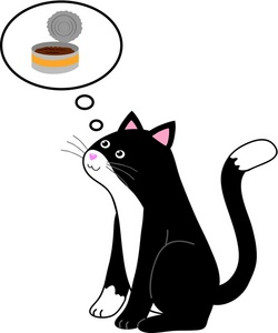 Pet clipart hungry. Image a cat thinking