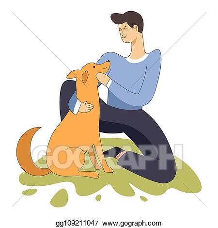 Vector sitting with domestic. Pet clipart male dog