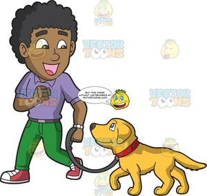 Pet clipart male dog. A trainer teaching golden