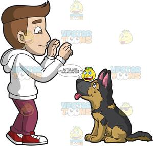 A man training german. Pet clipart male dog