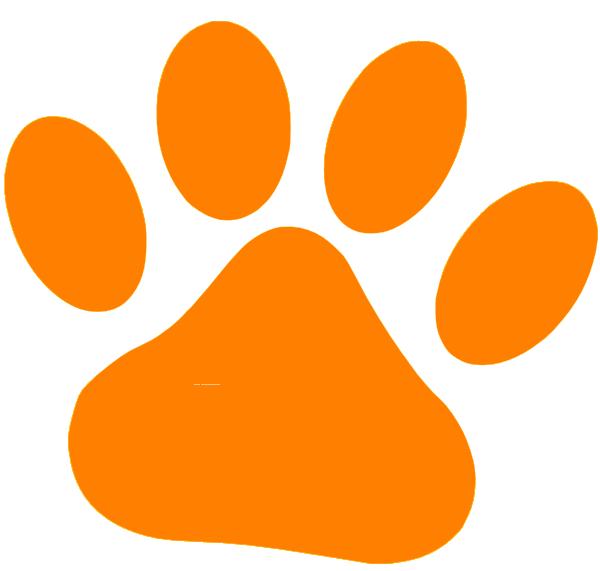 Orange clip art at. Pet clipart paw