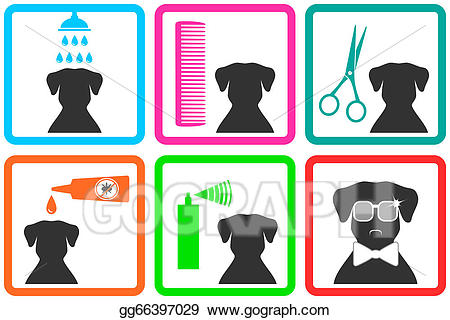 Stock illustration icons drawing. Pet clipart pet care
